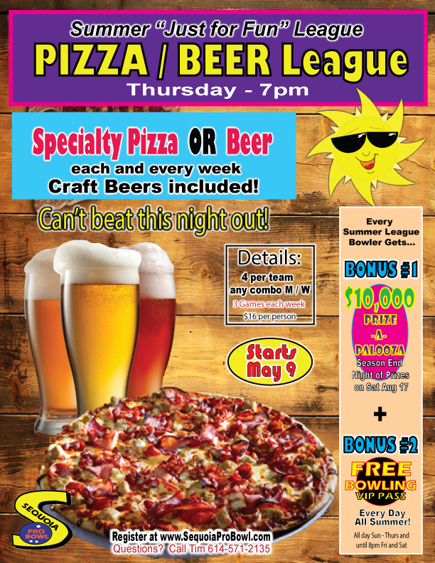 Sequoia Pro Bowl Pizza and Beer Summer Bowling League - Sequoia Pro Bowl